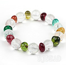 Assorted Multi Color Crystal Beaded Elastic Bangle Bracelet