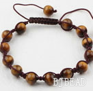 8mm Tiger Eye Woven Drawstring Bracelet with Adjustable Thread