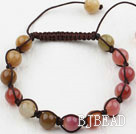 8mm Three Color Jade Weaved Drawstring Bracelet with Adjustable Thread