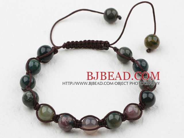 8mm Indian Agate Woven Beaded Drawstring Bracelet with Adjustable Thread