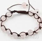8mm Rose Quartz Woven Drawstring Bracelet with Adjustable Thread under $ 40