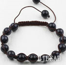 8mm Bluesand Stone Woven Beaded Drawstring Bracelet with Adjustable Thread