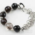 New Design Black Cherry Quartz Bracelet with Metal Chain and Heart Shape Toggle Clasp