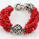 New Design Red Coral Bracelet with Moonlight Clasp under $ 40