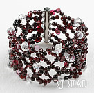 New Design Garnet and Clear Crystal Woven Bangle Bracelet with Slide Clasp under $30