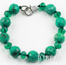 Xinjiang Turquoise and Dark Green Crystal Bracelet with Lobster Clasp