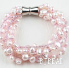 Multi Strand Baby Pink Freshwater Pearl and Glass Beads Bracelet with Magnetic Clasp
