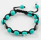 Blue Seashell Beads and Rhinestone Woven Drawstring Bracelet under $12