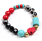 Simple Style Single Strand Black Crystal Red Blood Stone Hand-Painted Agate Turquoise Beads Stretch/ Elastic Bracelet With Cross Charm