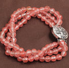 Fashion Three Strand Cherry Quartz Beads Bracelet