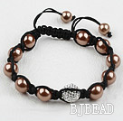 Coffee Color Seashell Beads and Rhinestone Ball Woven Bracelet