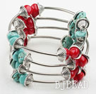 Assorted Red Coral and Turquoise Wrap Bangle Bracelet under $ 40