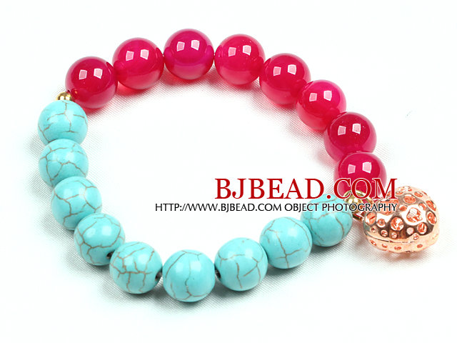 Simple Style Single Strand Blue Turquoise Rose Red Agate Beads Stretch / Elastic Bracelet With Golden Rose Color Hollow Heart Charm