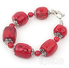 drum shaped red coral bracelet with toggle clasp