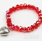 Dark Red Manmade Crystal Elastic Bangle Bracelet with Heart Shape Metal Accessories under $ 40