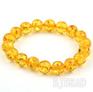 10mm Yellow Color Round Immitation Amber Elastic Bangle Bracelet
