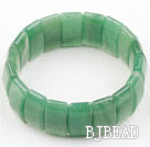 Rectangle Shape Faceted Aventurine Elastic Bangle Bracelet