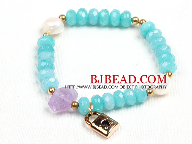 Summer Beach Fashion Blue Jade Natural White Pearl And Amethyst Stretch / Elastic Bracelet With Golden Lock Charm