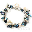 white and black pearl bracelet with metal chain and toggle clasp