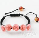Fashion Style New Design Pink Rose Flower Turquoise Weaved Drawstring Bracelet with Adjustable Thread