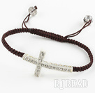 Fashion Style Sideway/Side Way White Rhinestone Cross Bracelet with Brown Cord Drawstring Bracelet under $ 40