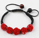 Fashion Style Dark Red Rose Flower Turquoise Woven Drawstring Bracelet with Adjustable Thread