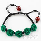 Fashion Style Dark Green Rose Flower Turquoise Woven Drawstring Bracelet with Adjustable Thread