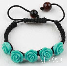 Fashion Style Blue Rose Flower Turquoise Woven Drawstring Bracelet with Adjustable Thread