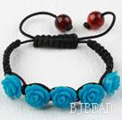 Fashion Style Dark Blue Rose Flower Turquoise Woven Drawstring Bracelet with Adjustable Thread under $ 40