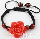 Fashion Style Carnelian and Orange Red Turquoise Flower Weaved Drawstring Bracelet with Adjustable Thread