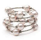 Pink Color Shell Beads Wrap Bangle Bracelet under $ 40
