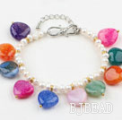 White Freshwater Pearl and Heart Shape Multi Color Agate Bracelet