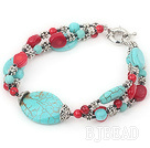 7 inches blue turquoise and red coral bracelet with moonlight clasp