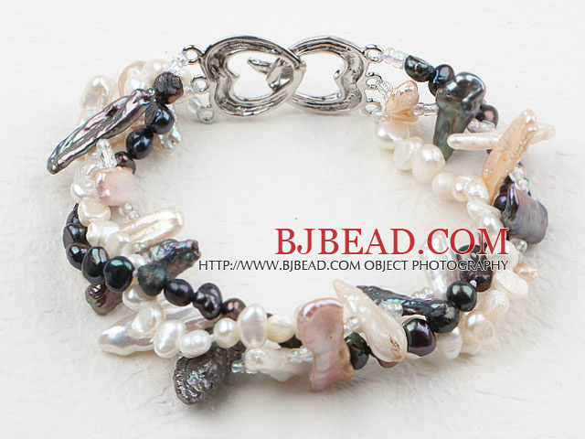 Three Strands Black and White Biwa Pearl Bracelet with Heart Shape Clasp