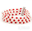 Three Strands Round White Freshwater Pearl and Red Coral Bracelet