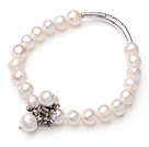 8-9mm White Freshwater Pearl Elastic Bangle Bracelet with Metal Flower Accessories