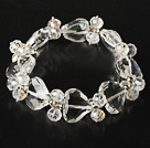Faceted Clear Crystal and Heart Shape Clear Crystal Elastic Bangle Bracelet