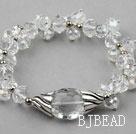 Assorted Faceted Clear Crystal Elastic Bangle Bracelet