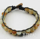 Two Rows Three Color Serpentine Jade Woven Bracelet with Shell Clasp