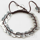 Immitation Silver Woven Bracelet with Adjustable Chain