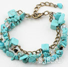 Turquoise Chips Bracelet with Bronze Chain