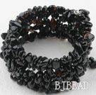Irregular Shape Black Agate Wrap Bangle Bracelet