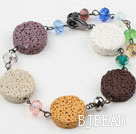 Multi Color Volcanic Stone and Multi Color Crystal Bracelet