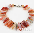 Long Teeth Shape Natural Color Agate Bracelet with Lobster Clasp