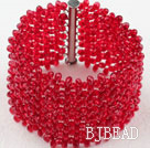 Big Style Red Crystal Woven Bracelet with Long Slide Clasp under $ 40