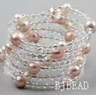 Clear Crystal and Pink Freshwater Pearl Wrap Bangle Bracelet