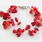 Multi Strands Red Coral Bracelet with Lobster Clasp