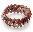 Coffee Color Donut Shell and White Seashell Beads Stretch Bangle Bracelet