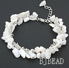 white lip shell bracelet with metal chain and lobster clasp