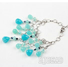 Blue Crystal and Blue Jade Bracelet with Metal Chain